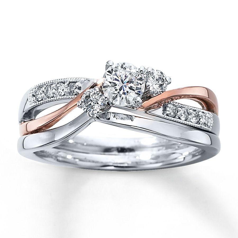 wedding ring sets cheap from Kay jewlers Diamond Bridal Set 3 8 ct tw Round cut 14K Two