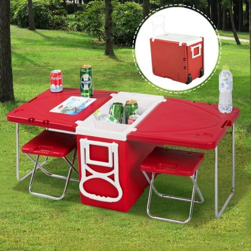 rolling kitchen chairs Amazon com Giantex Multi Function Rolling Cooler Picnic Camping Outdoor w Table