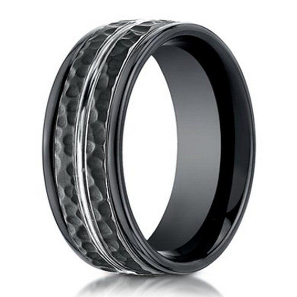 mens hammered wedding bands Hammered Finish Designer Cobalt Chrome Ring for Men in Black 8mm