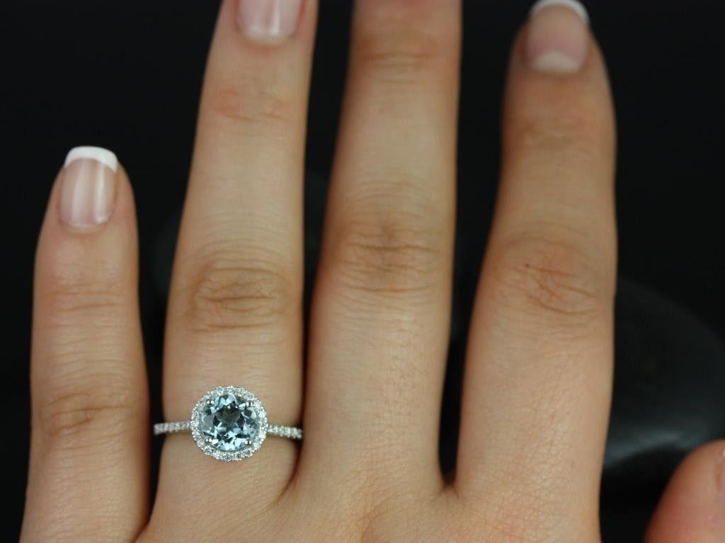aquamarine wedding rings aquamarine halo ring Google Search