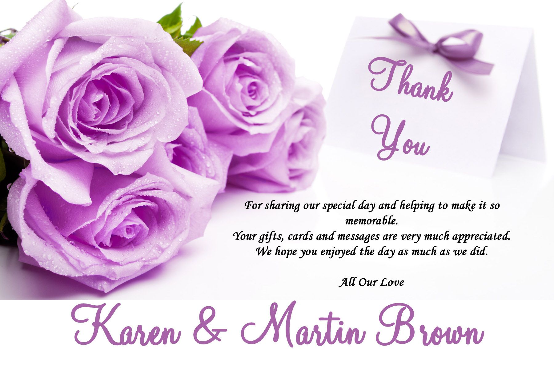 thank you cards wedding Beautiful Lilac Purple Rose Personalised Wedding by TheCardZoo Thank you card