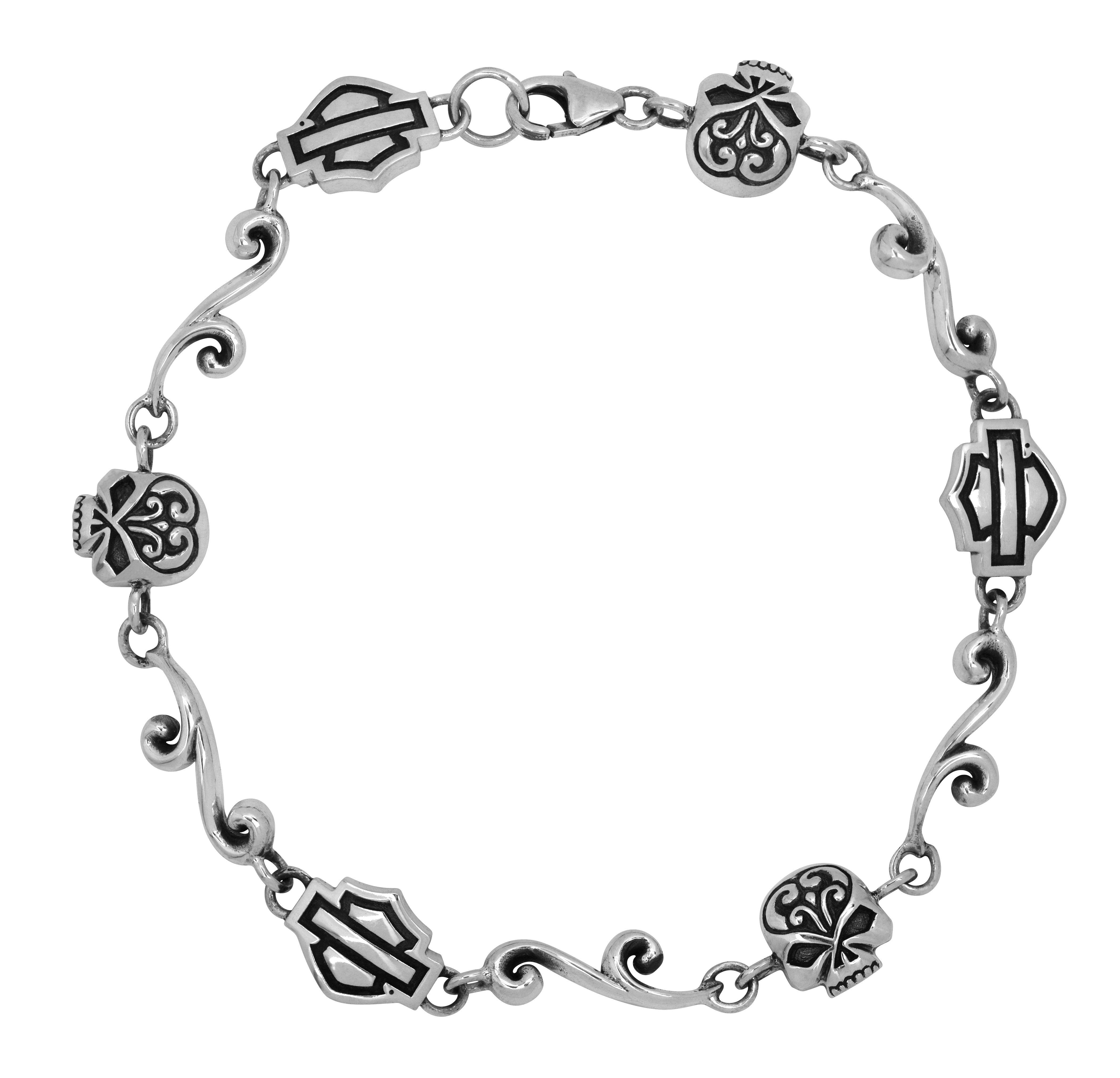 harley davidson wedding rings harley jewelry for women Harley Davidson Womens Silver Filigree Skull Chain
