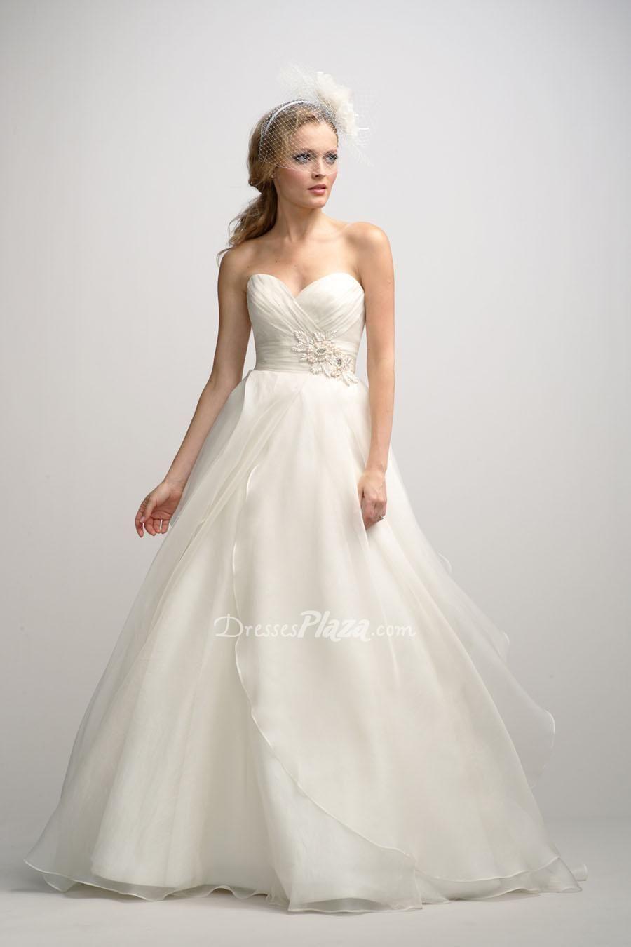 wedding dress skirt Organza Sweetheart Strapless Ball Gown Ruched Bodice Asymmetrical Overlay Skirt Wedding Dress at Dressesplaza com