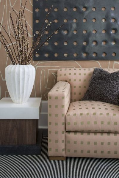 Kelly Wearstler Chalet Embroidered Fabric GWF-3525 Shell Gold | Gold wallpaper, Kelly wearstler ...