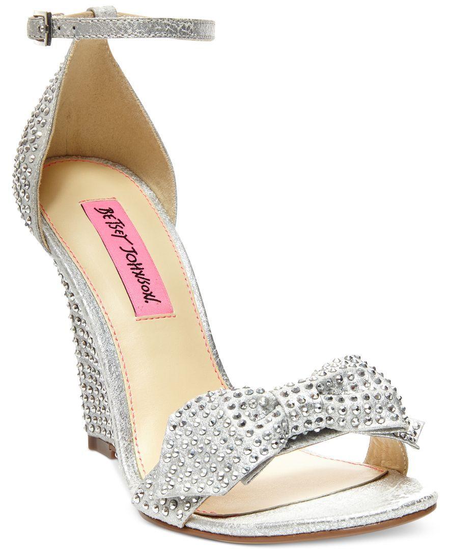 betsey johnson wedding shoes Betsey Johnson Delancyy Wedge Evening Sandals