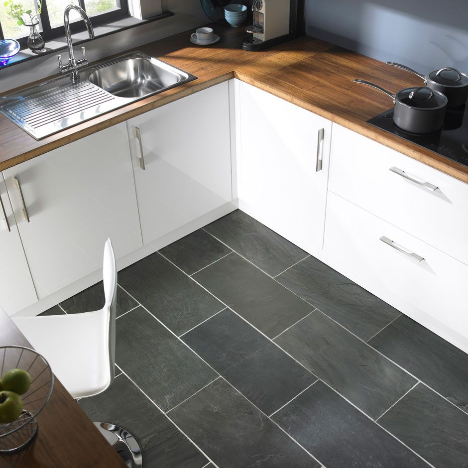 flooring for kitchen modern gray kitchen floor tile idea and wooden countertop plus white painted cabinets design feat contemporary