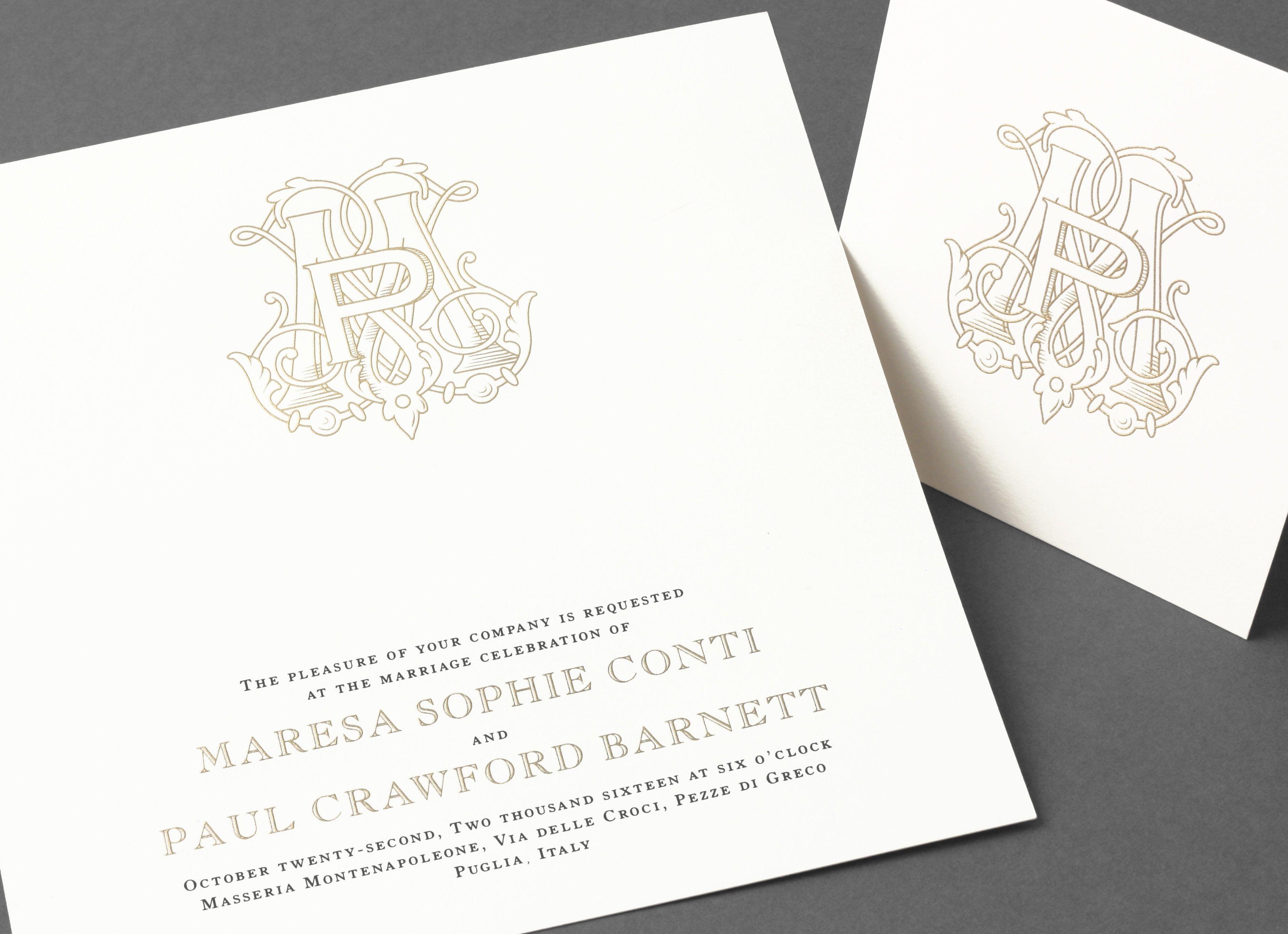crane wedding invitations Vera Wang extra large square wedding invitation with a gold monogram