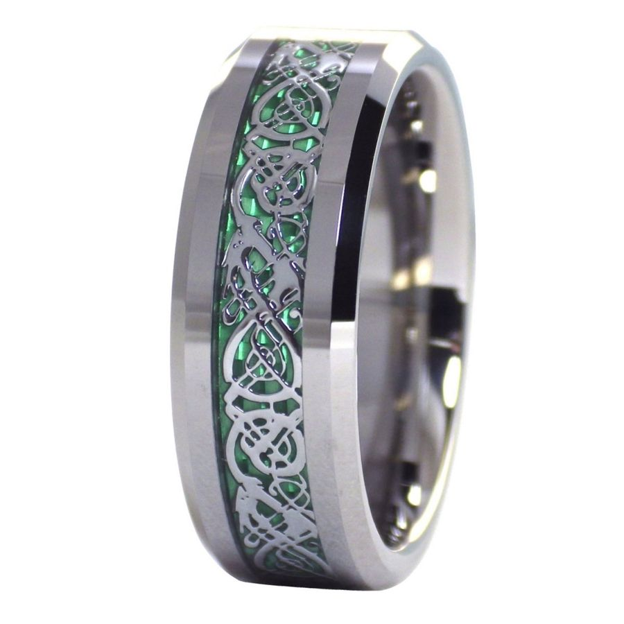 green mens wedding bands Green Celtic dragon ring Mens womens tungsten ring size 6 6 5 7 7 5