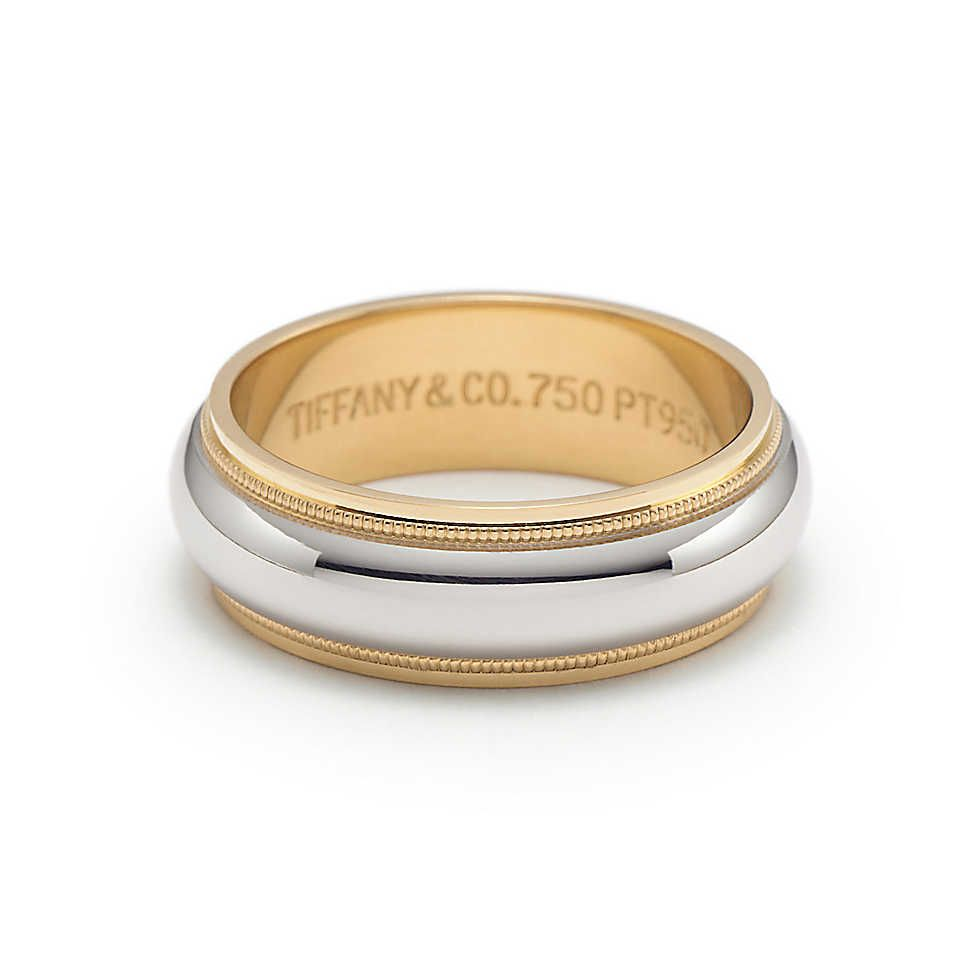 milgrain wedding band Milgrain wedding band ring in platinum and 18k gold 6mm wide Tiffany