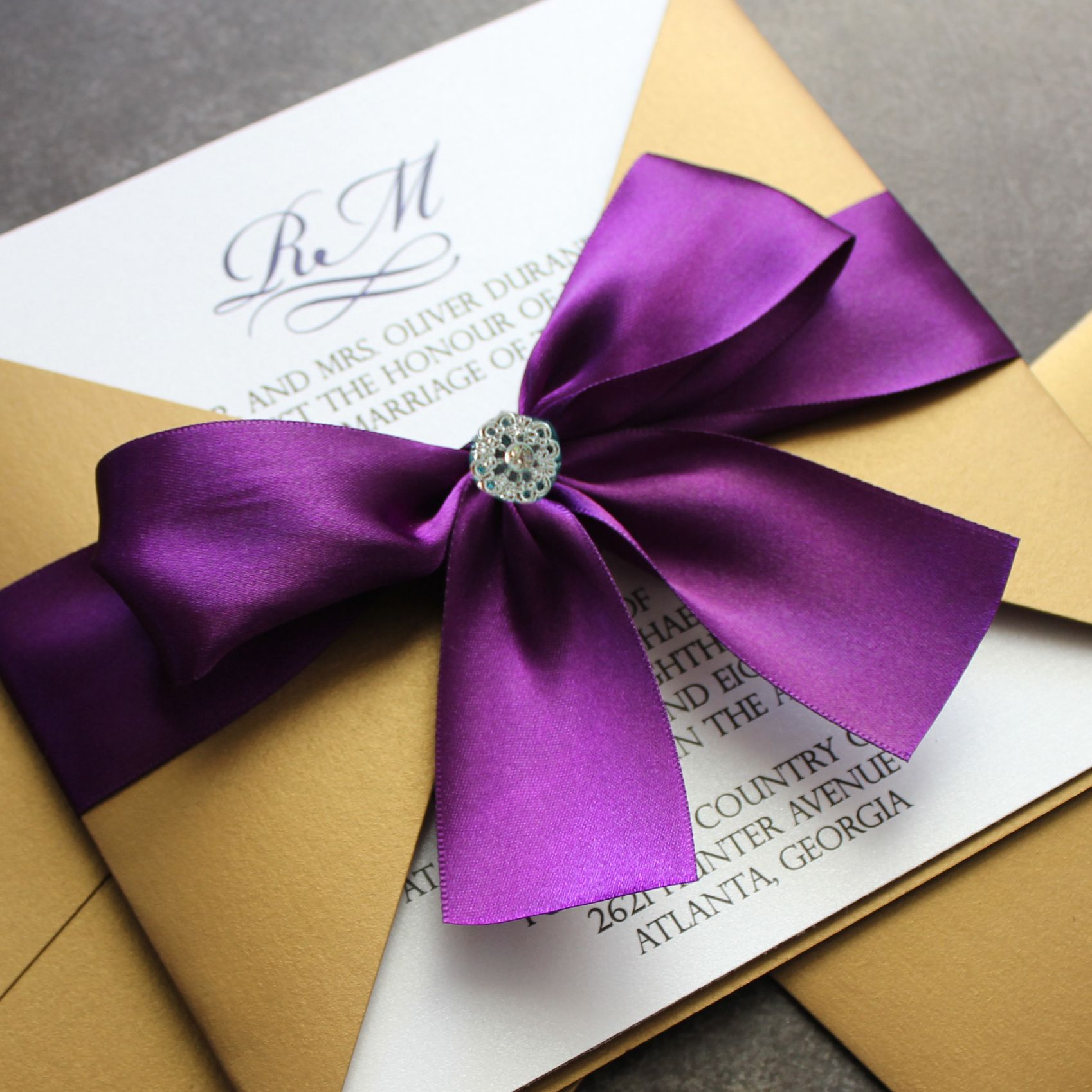 purple and gold wedding Gold and Purple Wedding Invitation Switch the gold to grey and purple to