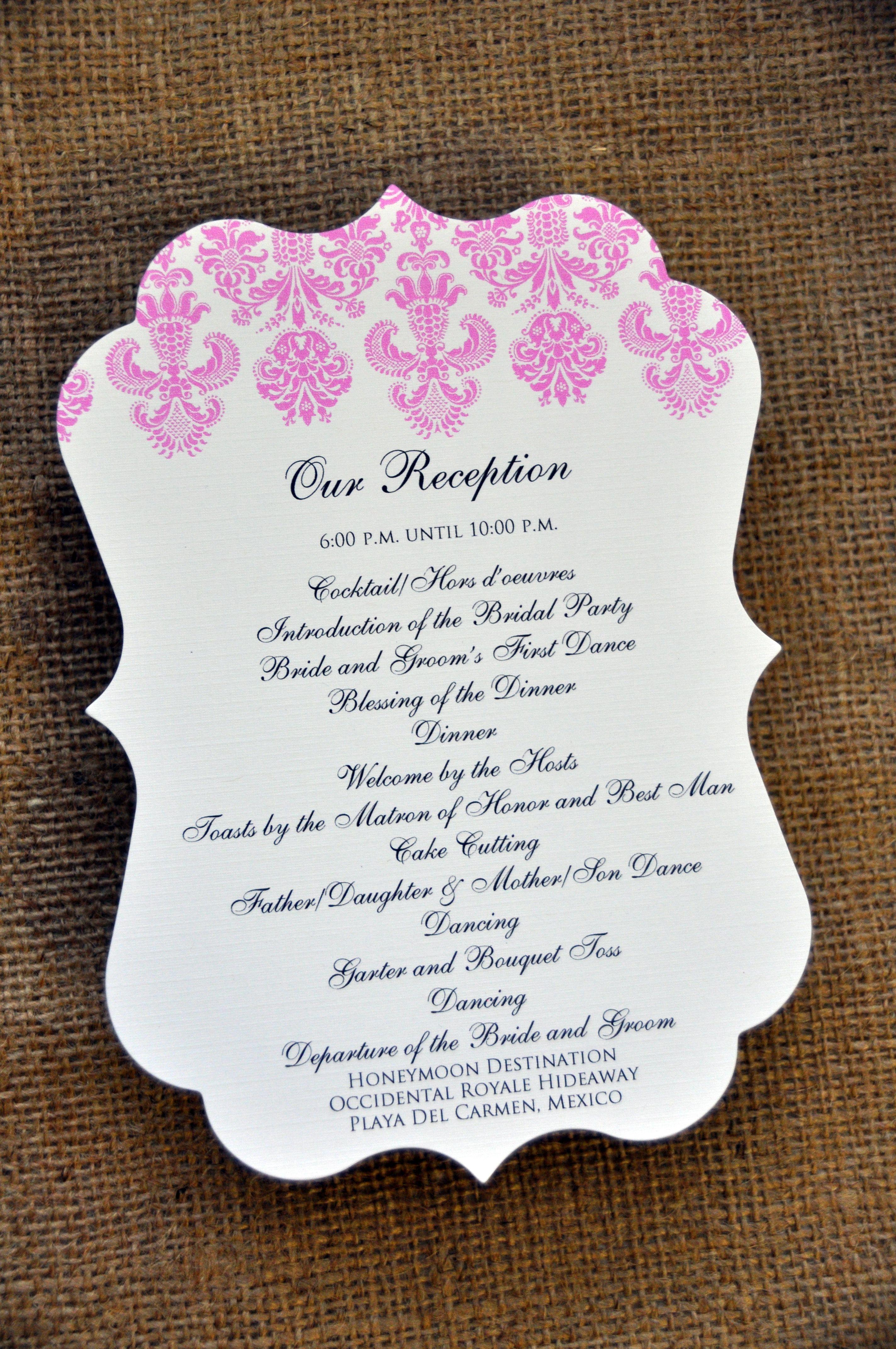 wedding programs reception program examples for weddings