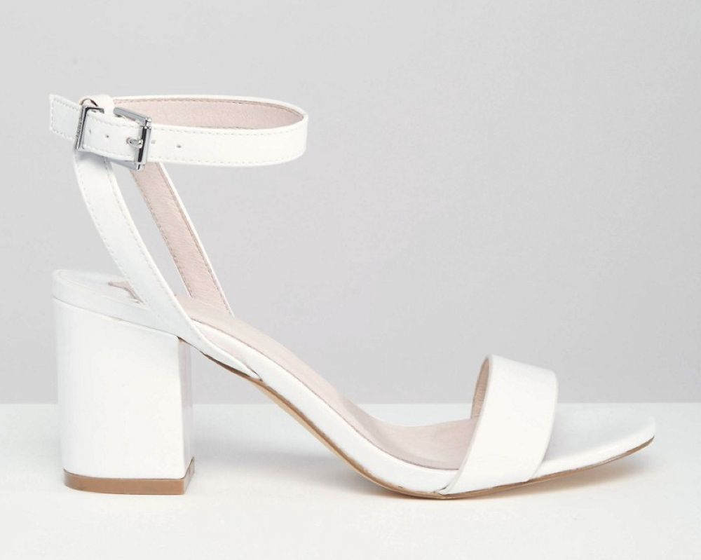 comfortable wedding shoes Comfortable wedding shoes Drake white barely there mid heel sandals Faith at ASOS