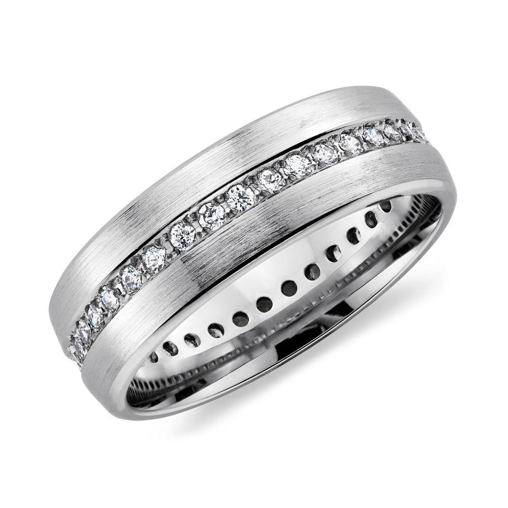 mens diamond wedding bands Brushed Diamond Eternity Men s Wedding Ring in Platinum