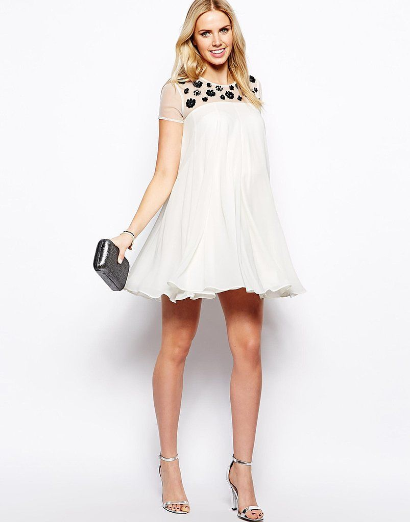 maternity dresses for weddings Image 4 of ASOS Maternity Swing Dress With Floral Embellishment