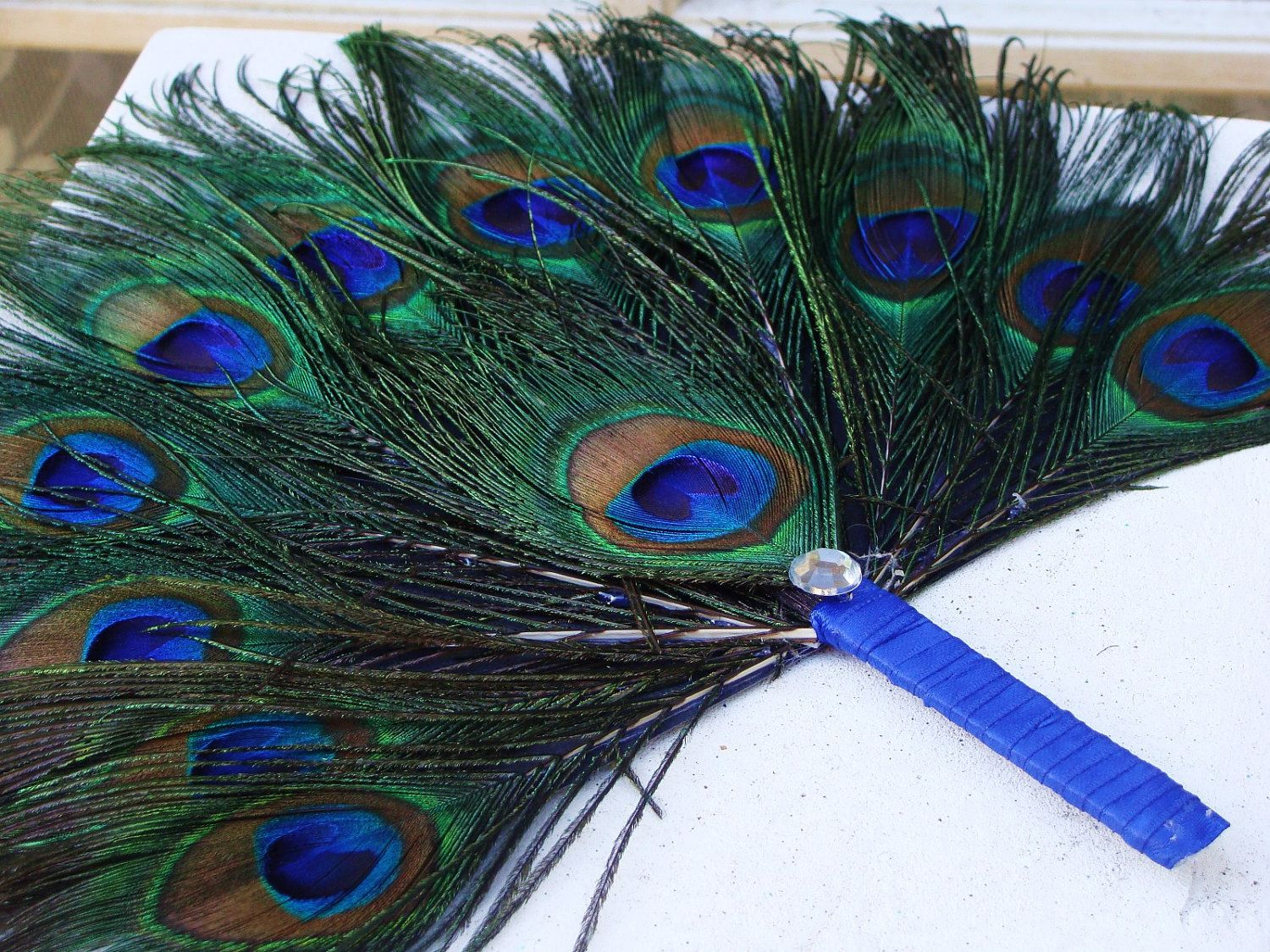 wedding fans Custom Quantity 35 Peacock Feather Fan Program Favors by Ivyndell 00