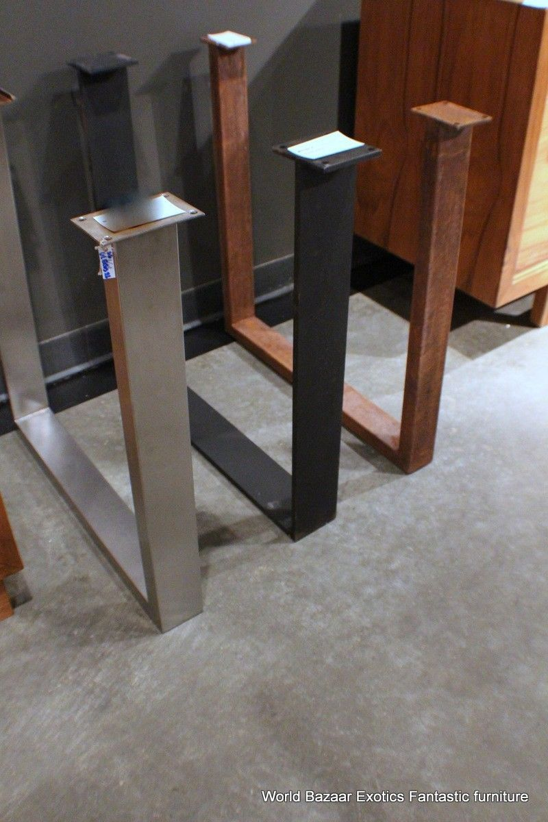 stainless steel kitchen table A Pair Dining Table Slab Legs Stainless Steel Flat Iron or Rust Iron U Shaped