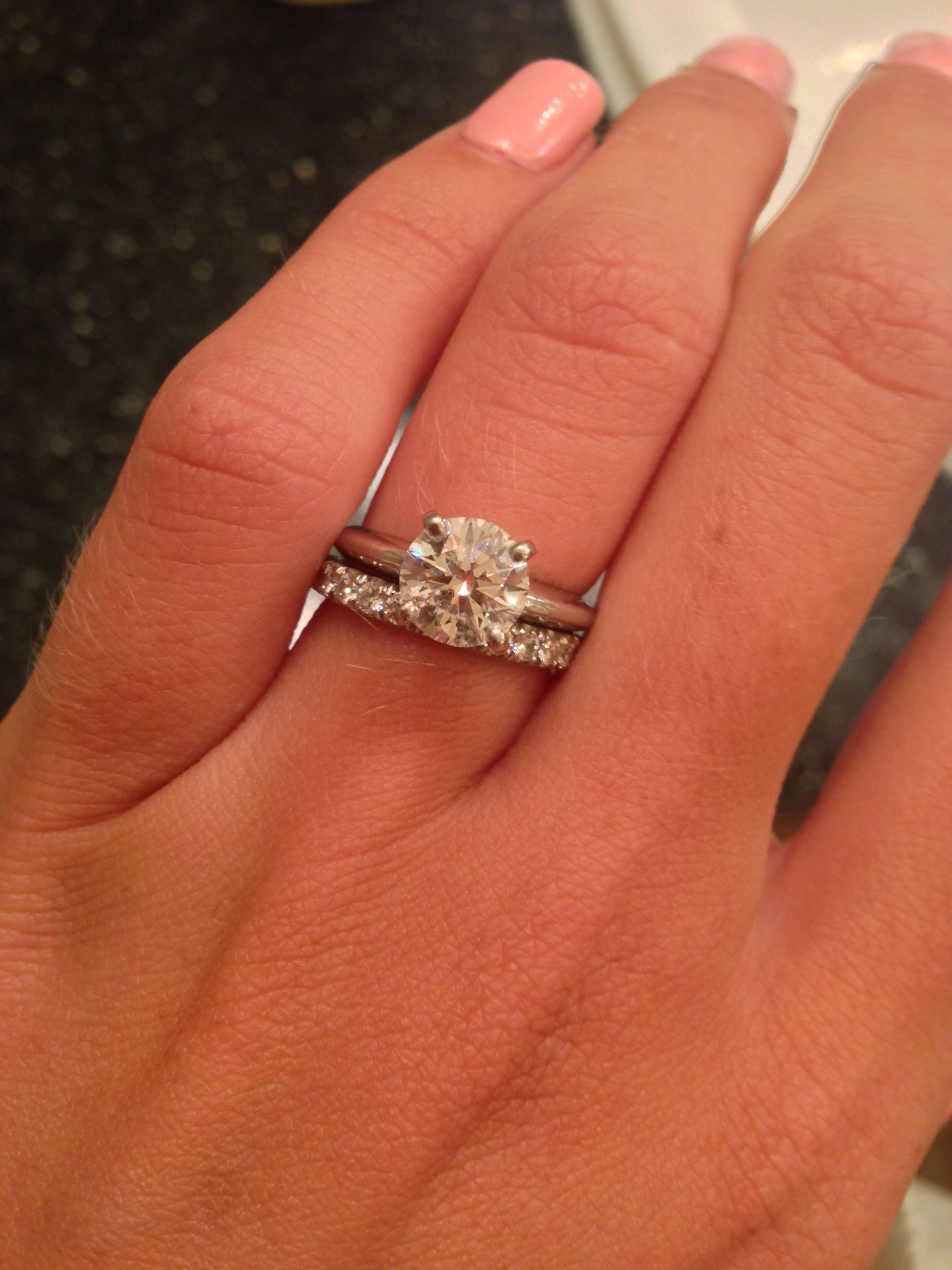 infinity diamond wedding band Show me your diamond wedding band with your solitaire e ring Weddingbee Page