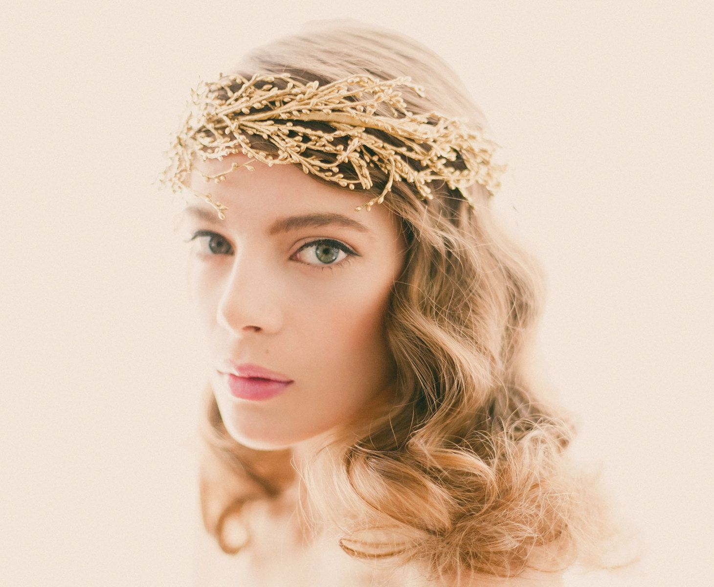 wedding crowns Golden bridal headpiece Gold or silver wedding crown Bridal head piece Gold branch