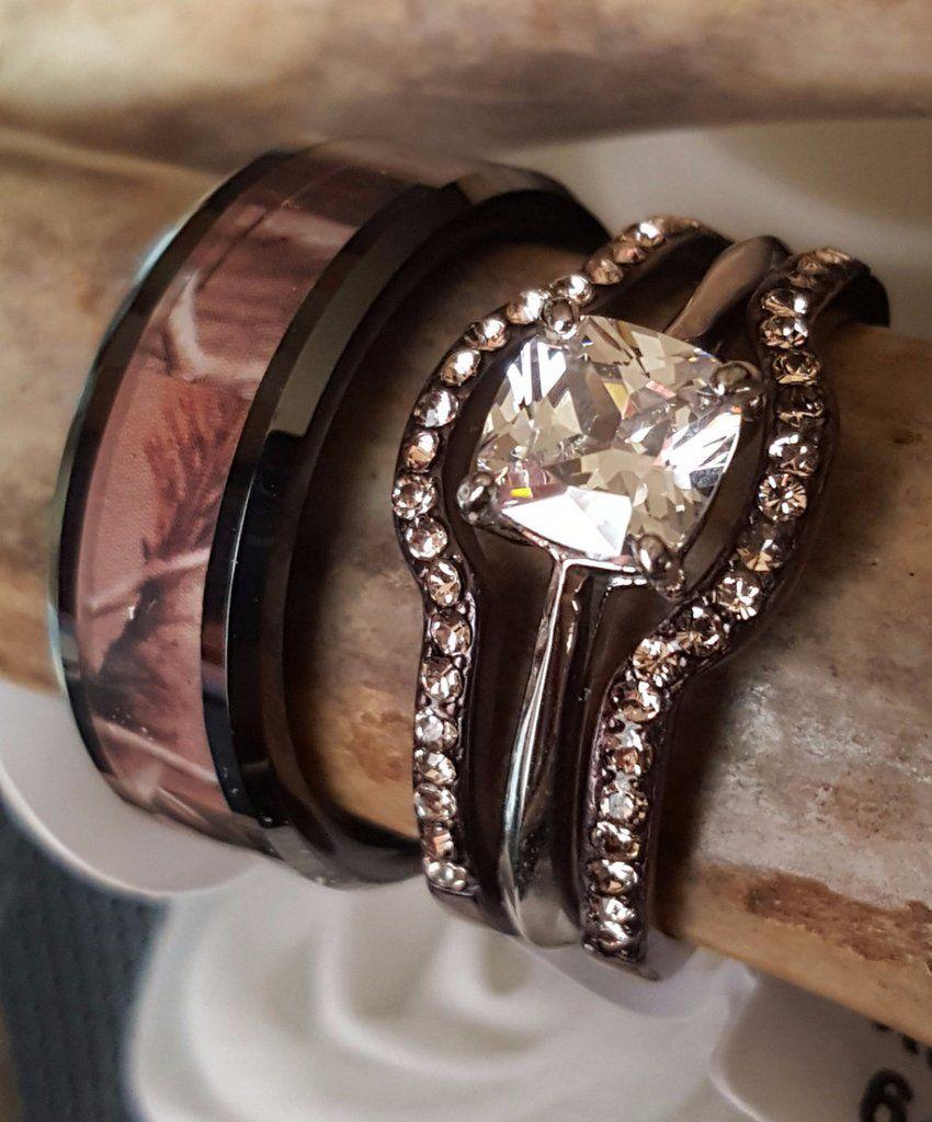 western wedding rings Camouflage Wedding Set Men s Women s Engagement plus Wedding Bands Mens Tungsten Carbide Camo