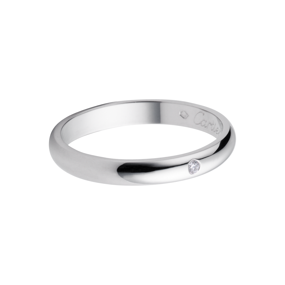platinum wedding bands Cartier Classic Platinum Wedding Band Set With A Diamond