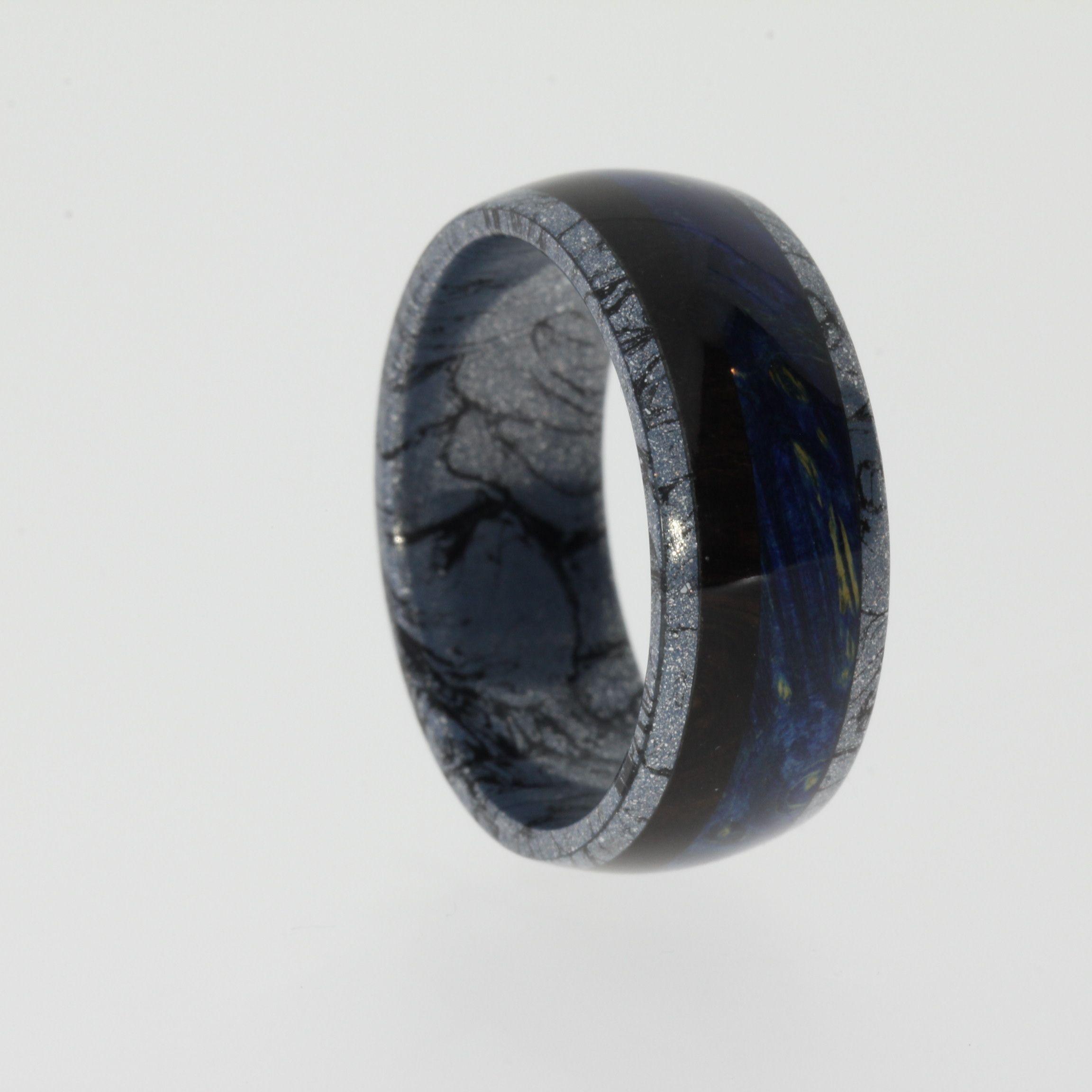 black mens wedding rings Aquamarine Engagement Ring Meteorite In Wavy 10k White Gold