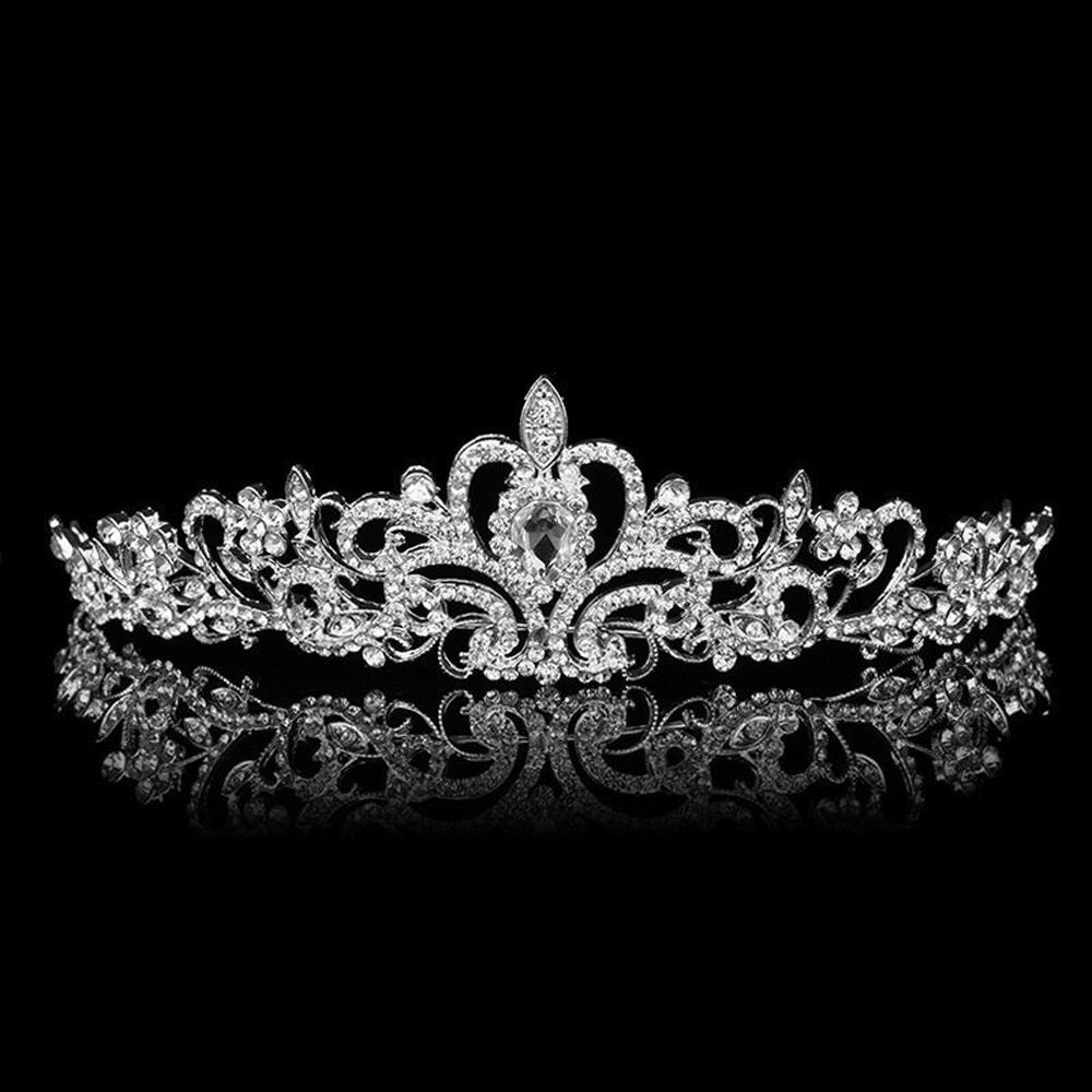 wedding crowns Bridal Princess Austrian Crystal Tiara Wedding Crown Veil Hair Accessory Silver
