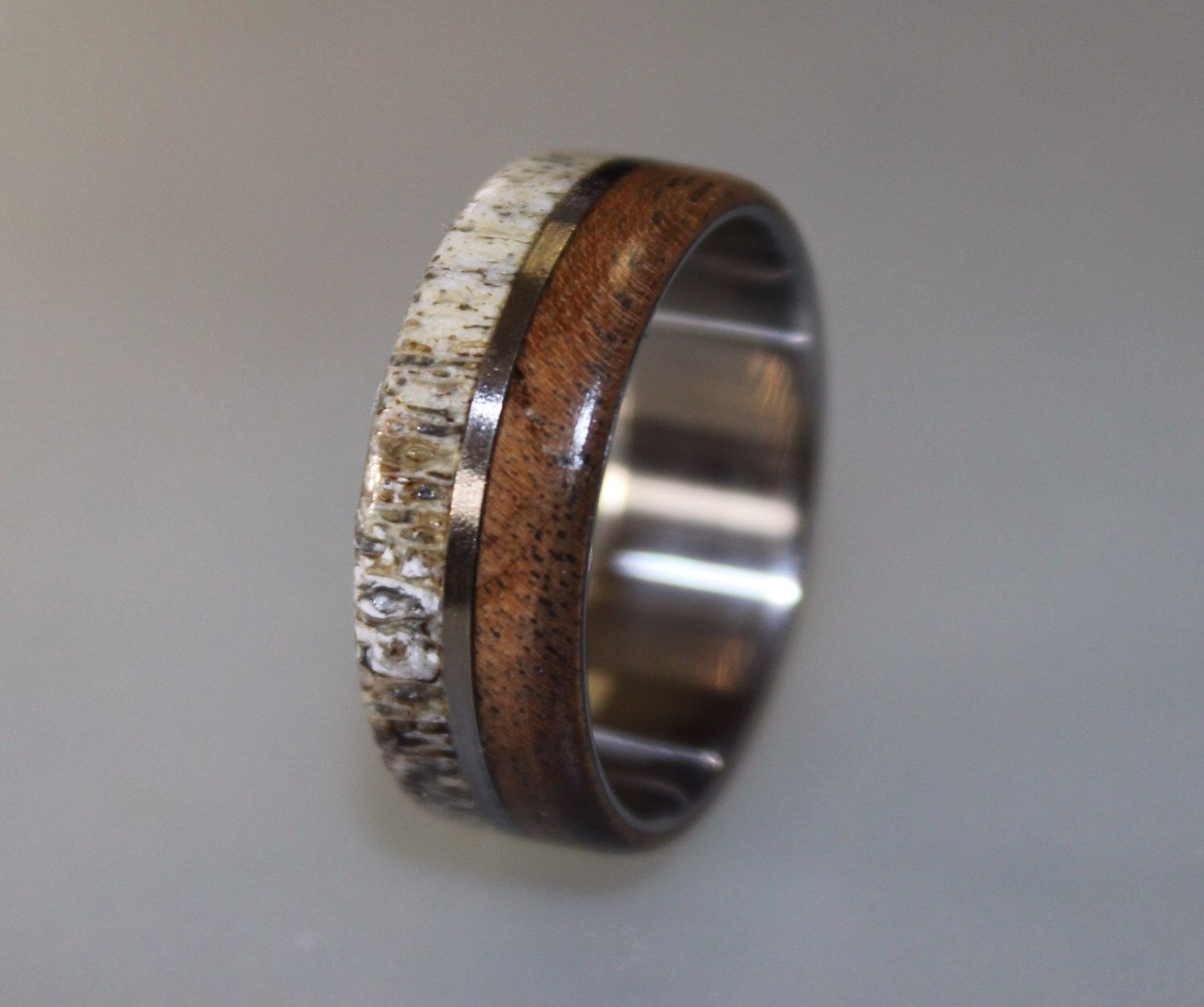 antler wedding band Titanium Ring Deer Antler Ring Antler Ring Mens Titanium Wedding Band Oak