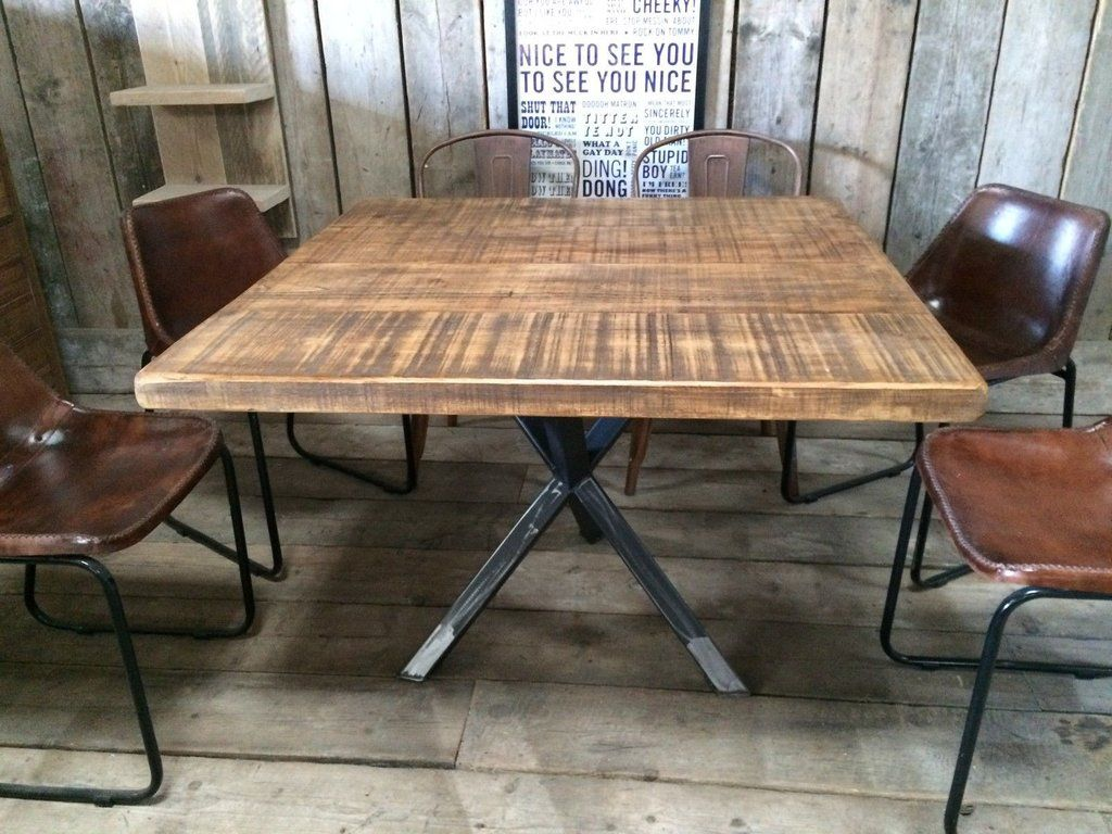 industrial kitchen table VINTAGE INDUSTRIAL RUSTIC RECLAIMED PLANK SQUARE TOP DINING TABLE TRIPOD STEEL BASE HANDMADE UK