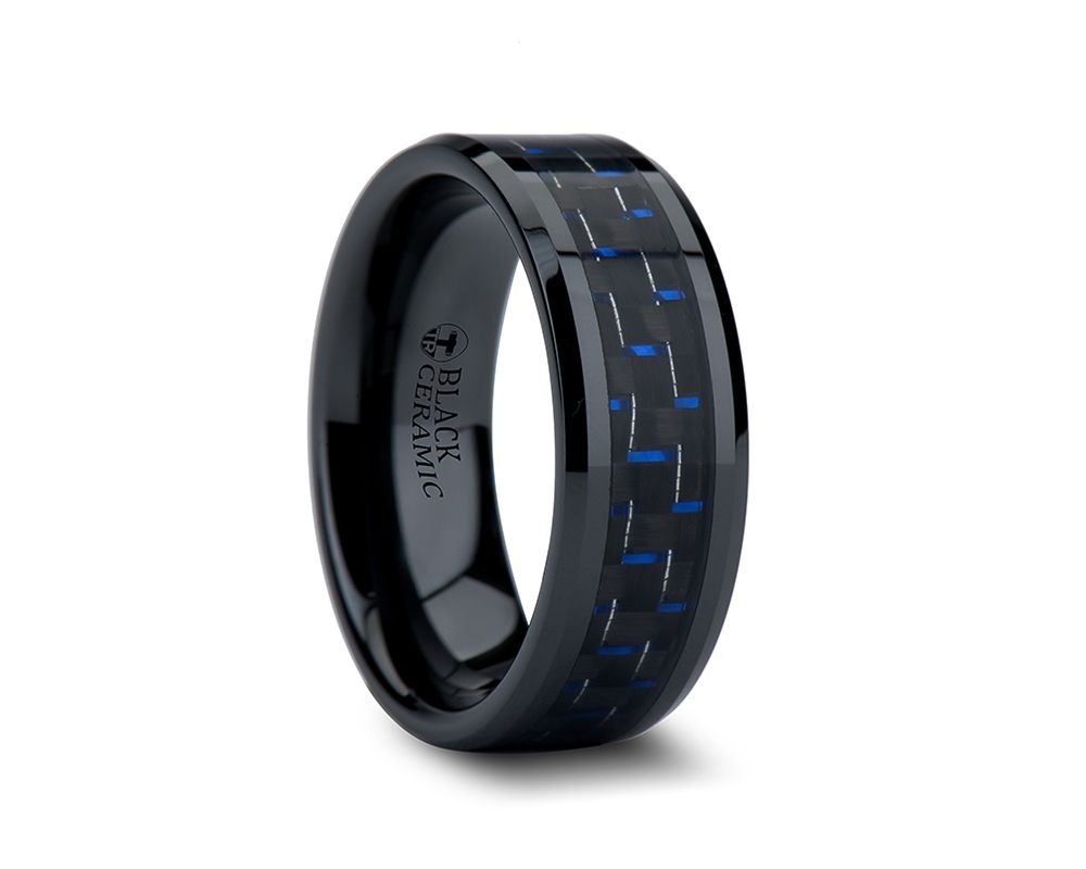 tungsten carbide wedding bands AVITUS Black Beveled Ceramic Ring with Blue Black Carbon Fiber Inlay or Black Titanium Ring with Centered Pattern by Edward Mirell