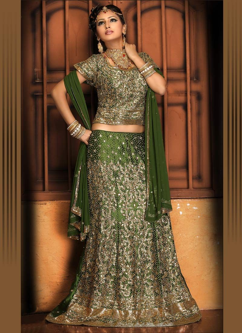 green wedding dresses Indian Wedding Dresses Green Lehenga Choli