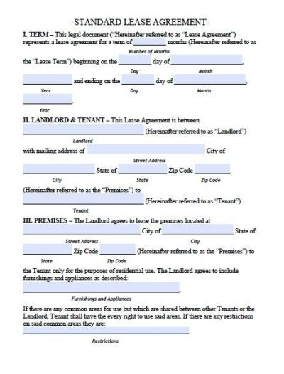 Printable Sample Residential Lease Agreement Template Form | Free Printable for Real Estate ...