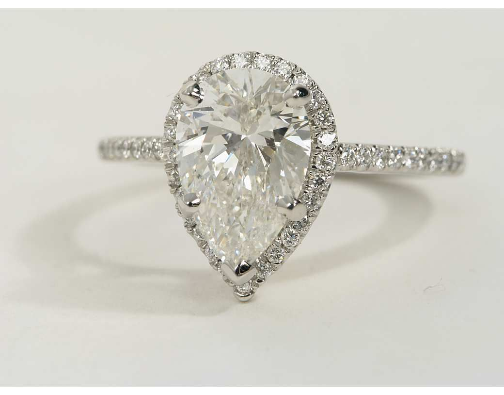 pear shaped wedding ring Pear Shaped Halo Diamond Engagement Ring in Platinum