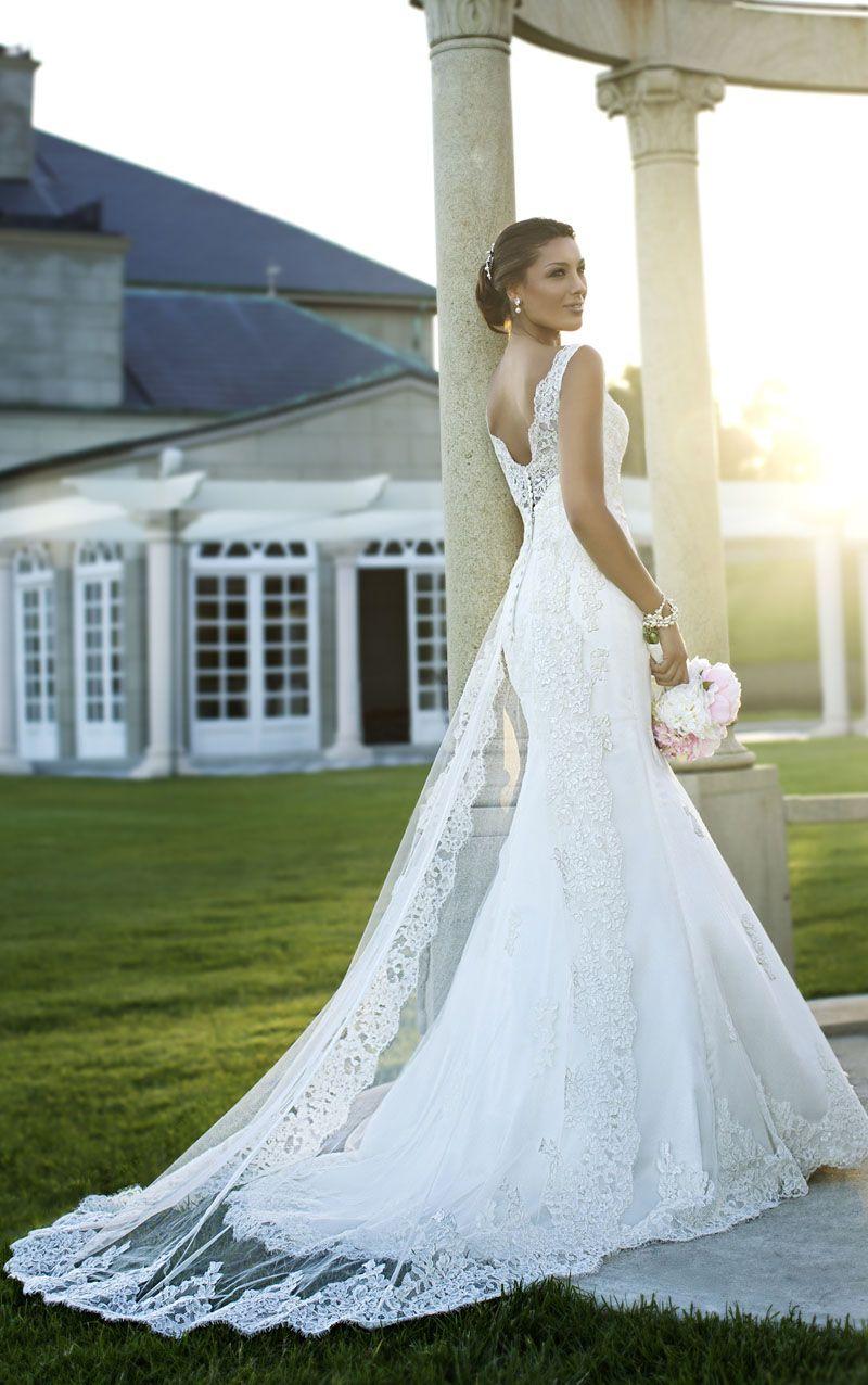sheer lace wedding dress V Back Sleeveless Lace Romantic Fit and Flare Wedding Dress Sheer Panel Train