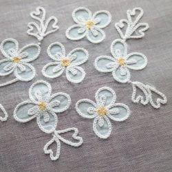 Details About Rare Pastel Blue Flowers Vintage Organdy Tambour Lace