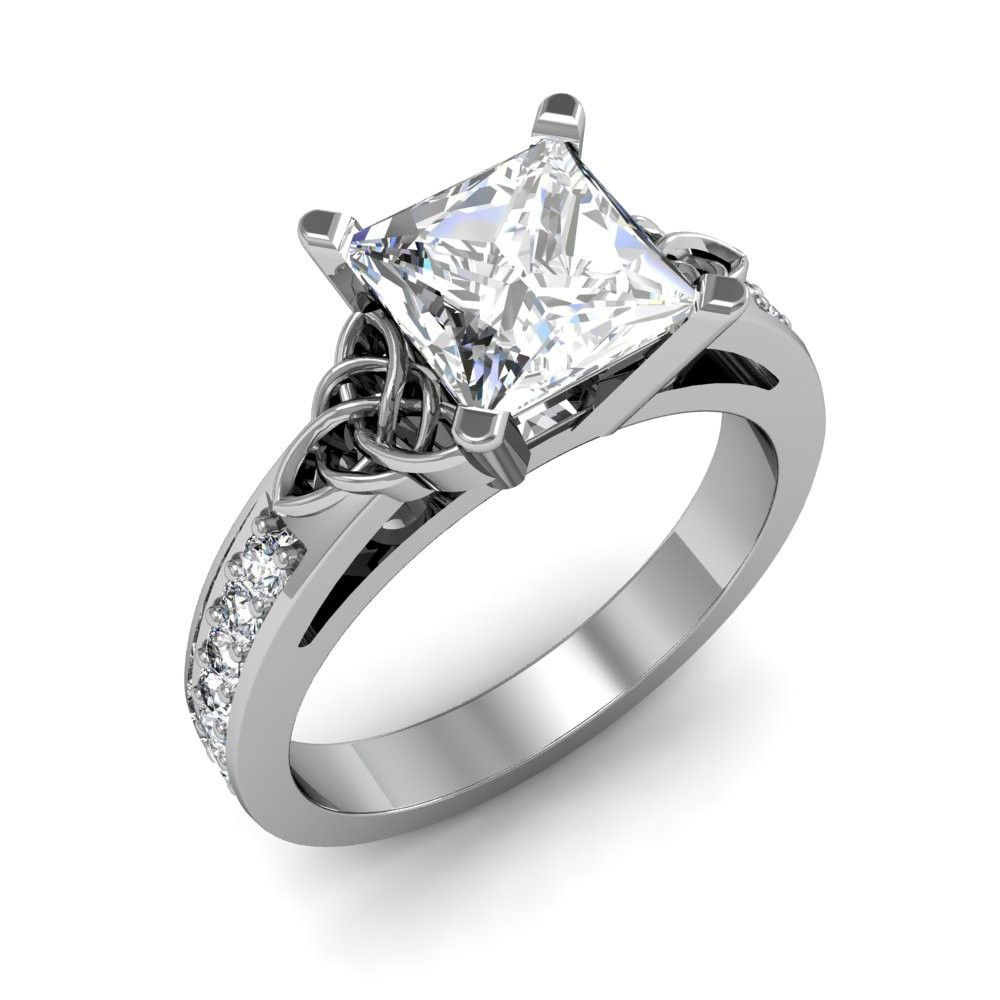 celtic wedding rings Award winning Hand Crafted Celtic Trinity Knot Engagement Ring with a princess cut natural diamond in