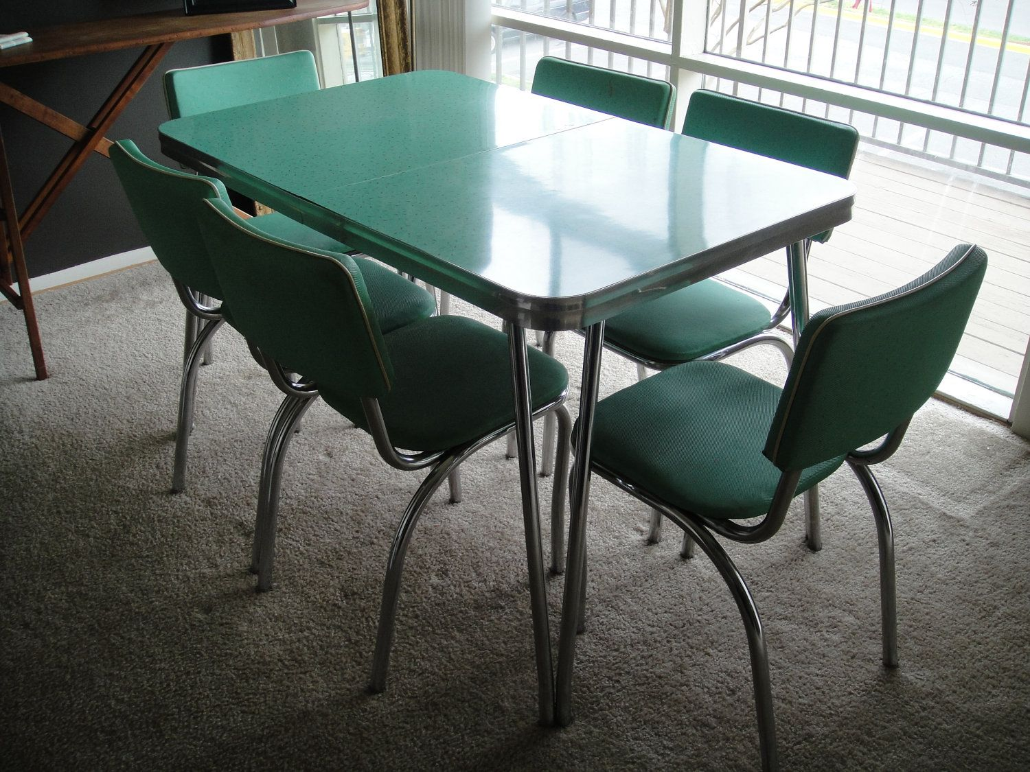 retro kitchen table sets RESERVED s Kitchen Table and Chairs Mint Dining Set with Six Chairs Formica with Chrome Legs and Details PICK UP ONLy