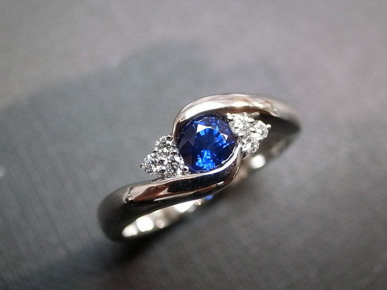 blue sapphire wedding rings Blue Sapphire Rings Diamond Rings Engagement Rings Wedding Band Gemstone Rings Women Jewelry Personalized Jewelry 14K White Gold