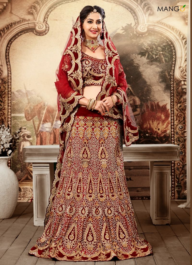 wedding lehenga STEALING MAROON WEDDING LEHENGA CHOLI CODE PRICE