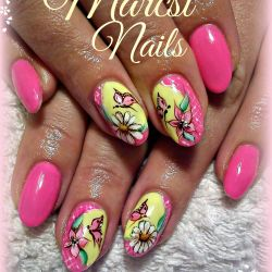 Butterfly and Flower Nail Art Pink Nail Neon Pink and Yellow Nail