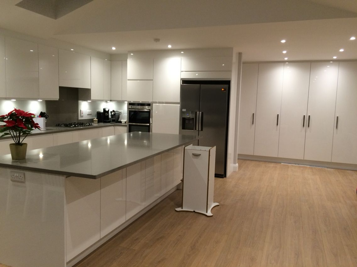 laminate flooring for kitchen Floors Finally My very own kitchen that I love White high gloss handle less units