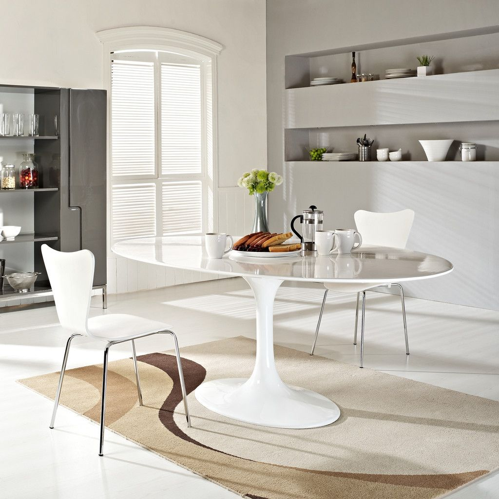oval kitchen table Lippa 78 inch Oval Dining Table White Fiberglass