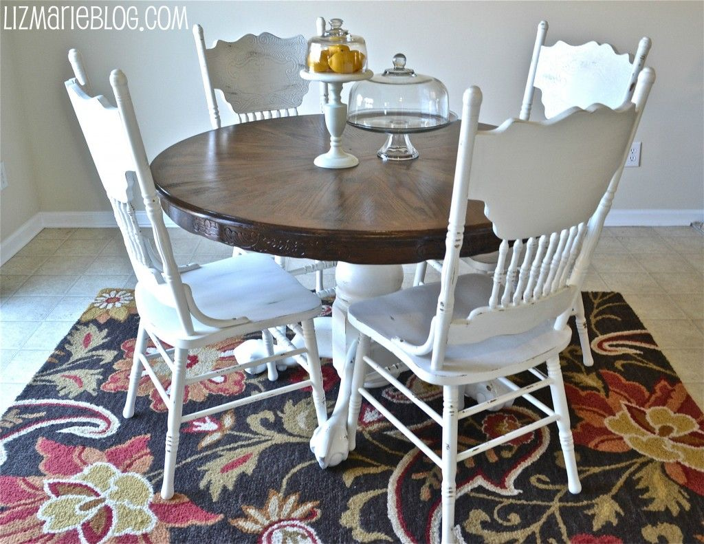eat in kitchen table paint old wood chairs white bottom of table white and stain top of table