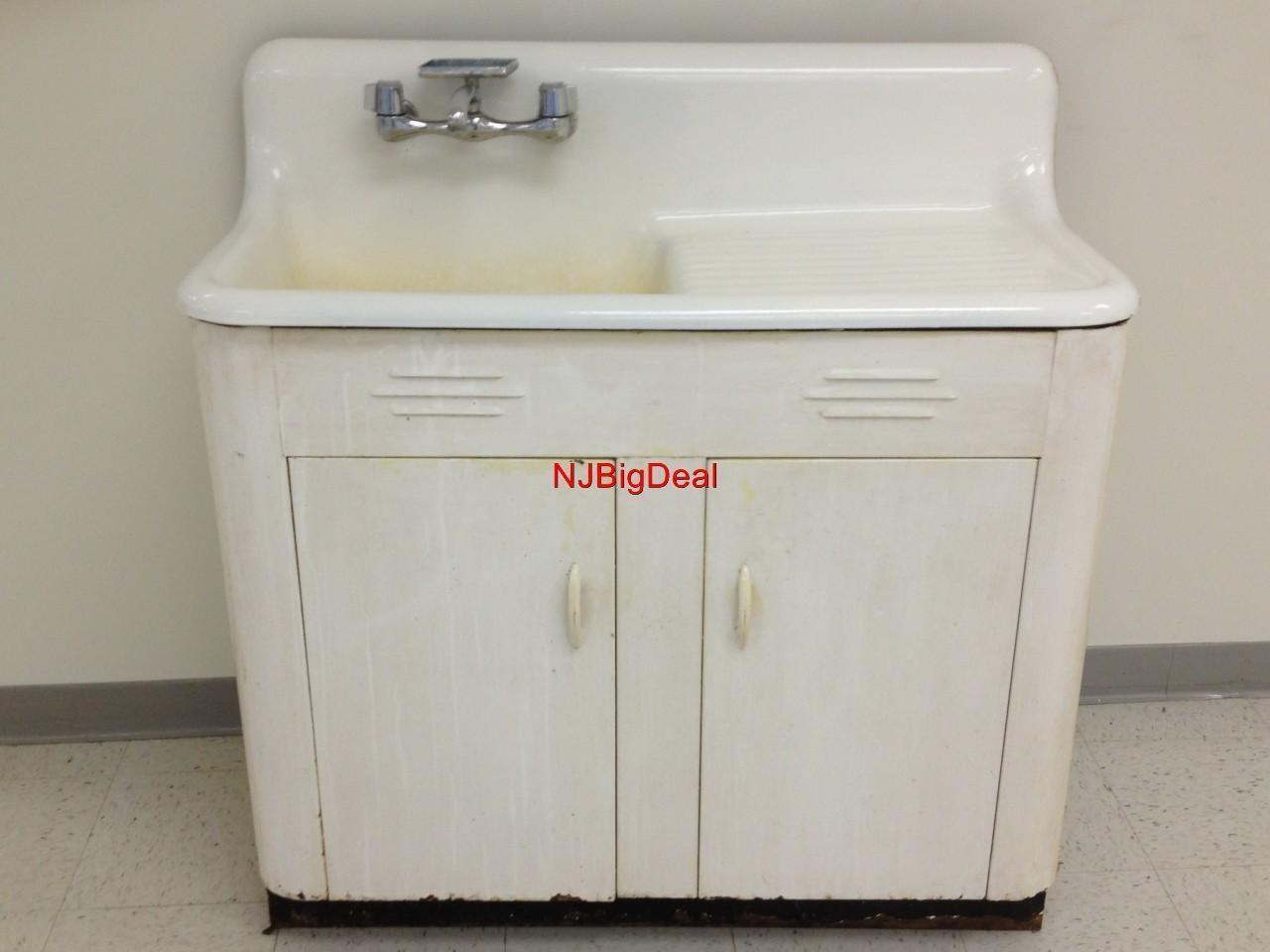 vintage sinks vintage kitchen sink Vintage kitchen sink with cabinet white porcelain cast iron and steel