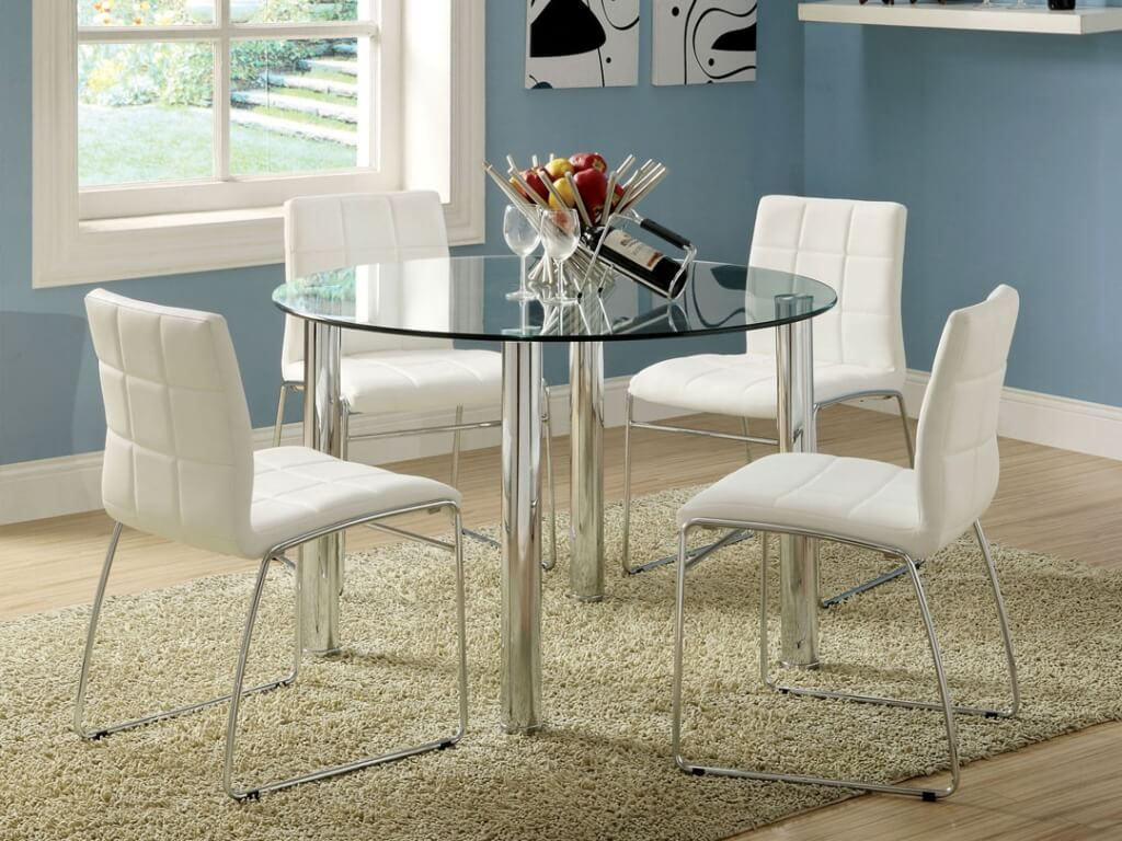 white kitchen table Dining Room Marvelous Round Glass White Dining Table With White Leather Dining Chairs And Metal