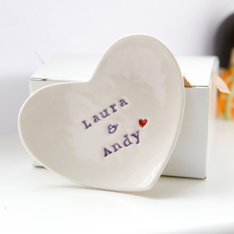 custom wedding gifts Cute wedding gift idea Personalised wedding ring dish custom porcelain heart wedding ring bearer