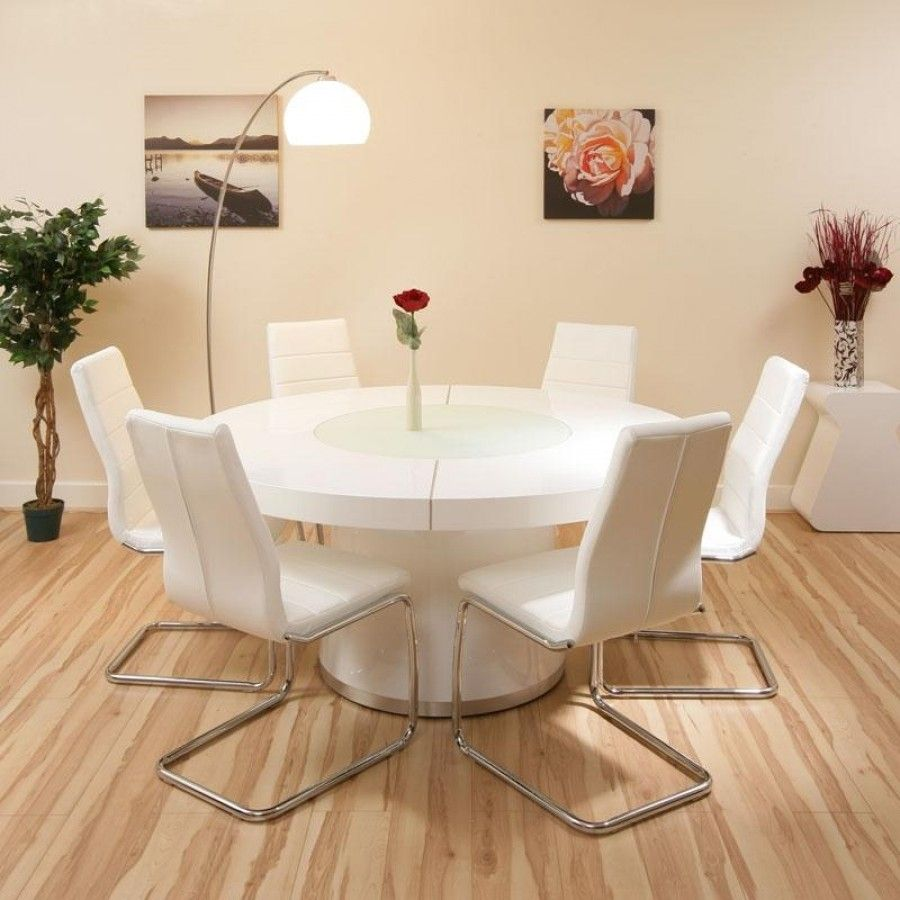 round kitchen tables Large round dining set white gloss table plus 6 white chairs lazy susan Truly