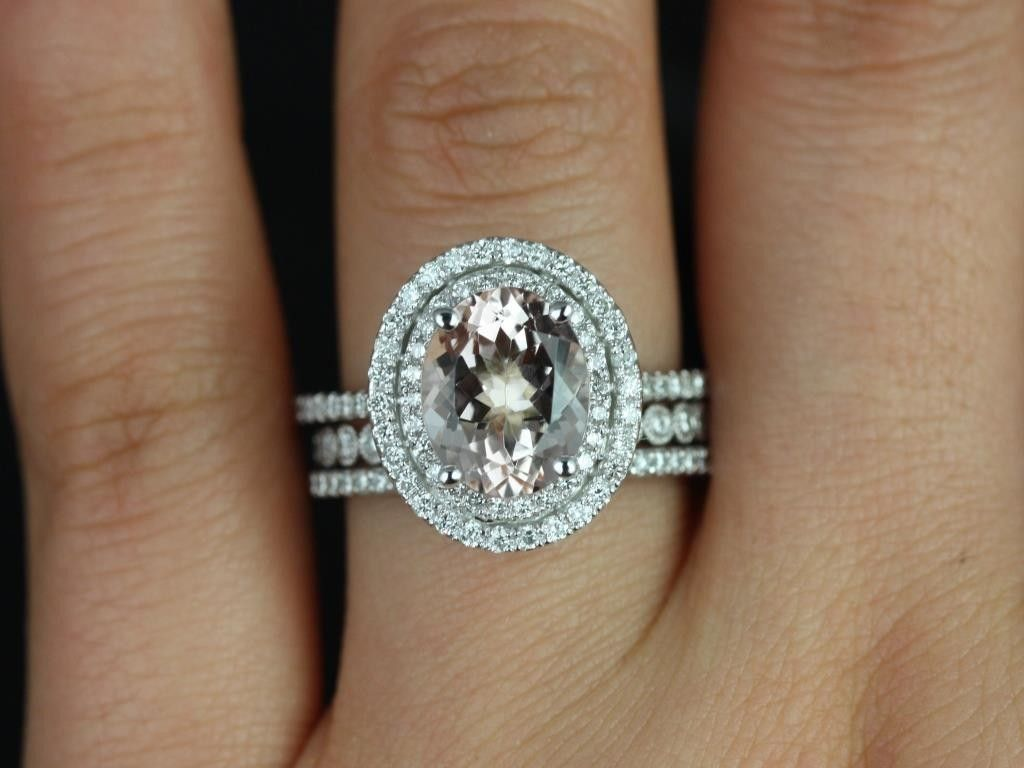 the magpie in me morganite wedding ring set best images about the magpie in me on Pinterest Diamond wedding bands Halo and Wedding band sets