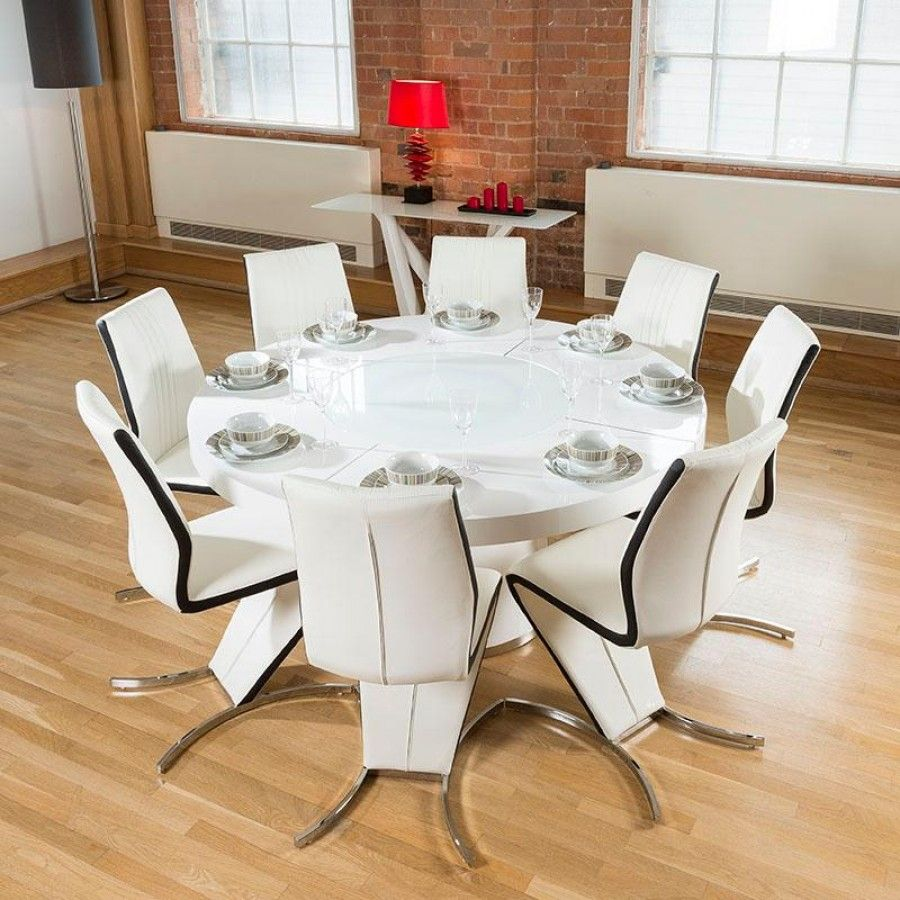large kitchen tables Large round white gloss dining table lazy susan eight white black Z Chairs
