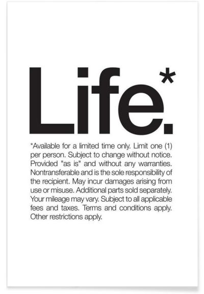 Life* (Black) as Premium Poster by WORDS BRAND™ | JUNIQE # ...