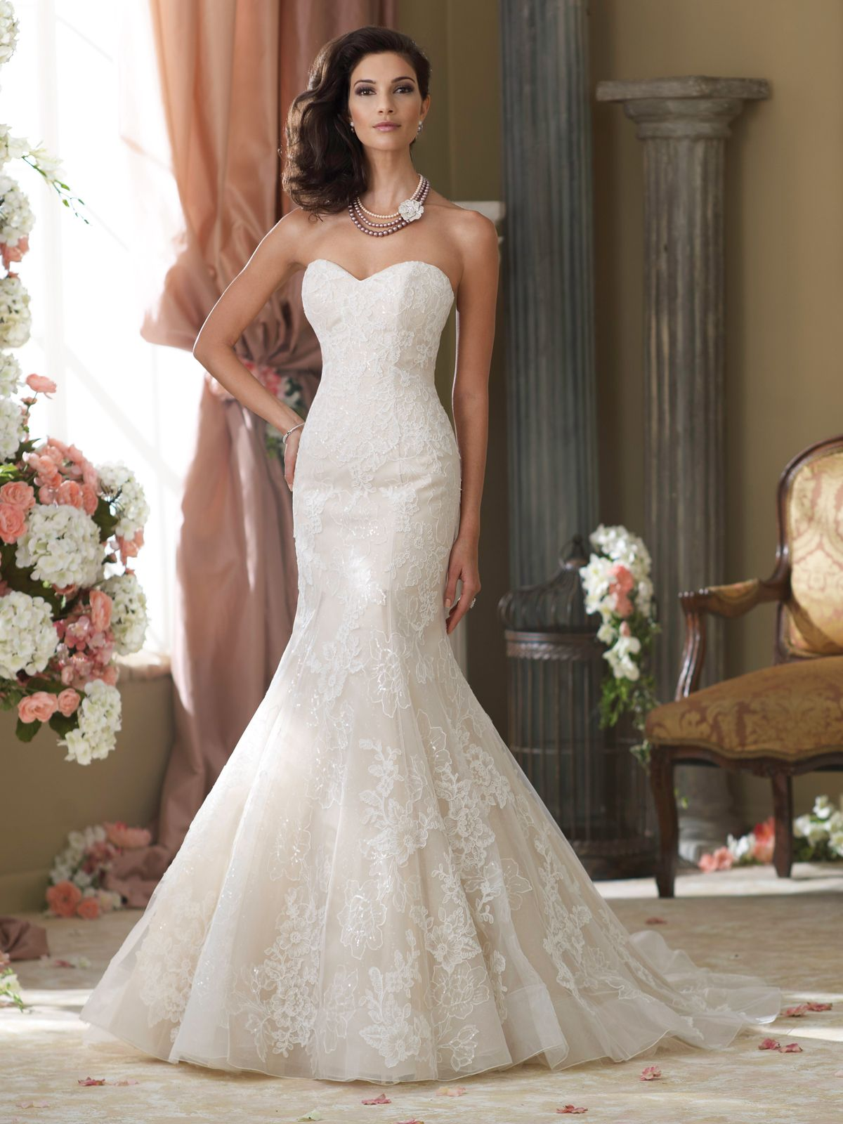 sweetheart mermaid wedding dresses Wedding Dresses Collection Strapless lace tulle organza and sequin over satin mermaid